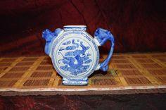 "Asian Porcelain Blue & White Dragon Design Small Decorative Teapot 6 1/2""x5 1/2"""