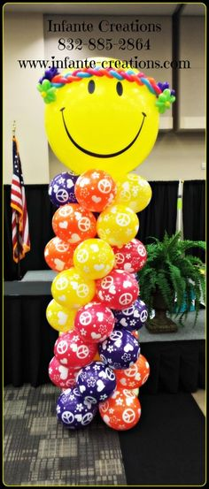 60's themed Smiley Hippie Column  #Qualatex #Balloons #60's #Hippie #Peace