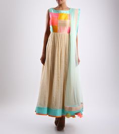 #Multicoloured Embroidered #Silk #Anarkali #Suit by #Mohini #Goyal at #Indianroots