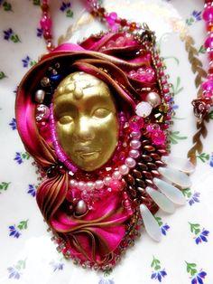 Shibori silk bead embroidery pendant spring by mysweetcrochet