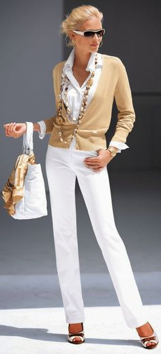 While on white, with camel cardigan, scarf and bag. This is a gorgeous summer look. Can't wait to try it next summer.