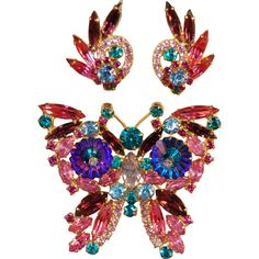 Juliana DeLizza & Elster Iridescent Margarita Colorful Figural Butterfly Brooch & Earrings