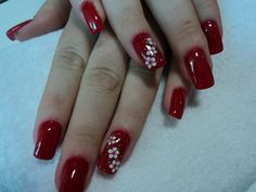 3d Nail Art, 3d Nails, Fall Nail Designs, Christmas Nail Art, Red Gold, Pretty Nails, Red Toenails, Chic Nails, Nail Arts