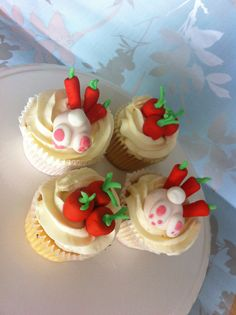 By cakes for takes carrot cupcakes with carrot tops and Easter bunny ...