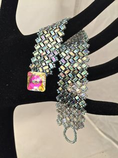 Miyuki Iridescent Half Tila Beaded by AlphaAndOmegaDesigns on Etsy