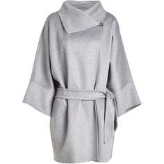 Max Mara Cashmere Belted Coat (159.460 RUB) ❤ liked on Polyvore featuring outerwear, coats, grey, belt coat, pure cashmere coat, maxmara coat, funnel-neck coats and cashmere coat