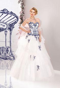 Vestido de Noiva de Miss Paris (163 08), corte em a, decote coração, longo