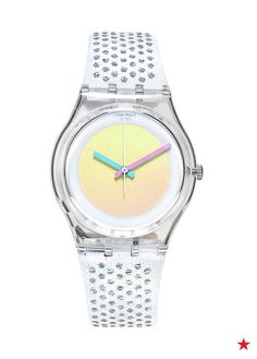 Obsessed with the iridescent face on this SWATCH watch! The clear, sparkled band makes it even more perfect for summer. Shop now!