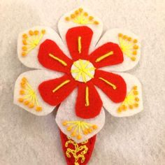Handmade Felt Hair Clip for Christmas and Chinese New Year - Flower - HCF12