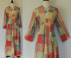 Vintage 70s Floral Patchwork Pattern Maxi Dress with Flared Sleeves. Will hem shorter upon request