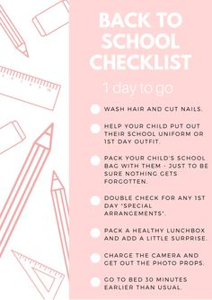 Back To School Checklist 1 Day To Go