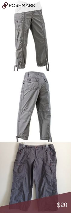 """Grey Capri Cute, comfy, and classic. Pockets. I took ties off at hem. Can't find it. Legs can be folded up and secure with buttons tabs. 100% cotton. Measurement laying flat: waist: 17"""" length: 30"""" inseam: 23.5"""" No stains or holes. Natural Reflections  Pants Capris"""