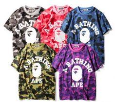 "Bape T-Shirt Camo ""A Bathing Ape"" Clothing Multi Colors Bape Outfits, Cool Outfits, Bape Shirt, Camo, A Bathing Ape, Personalized T Shirts, Free Clothes, Custom T, Graphic Sweatshirt"