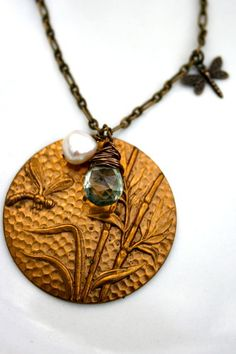 Dragonfly Garden and Green Amethyst #Necklace