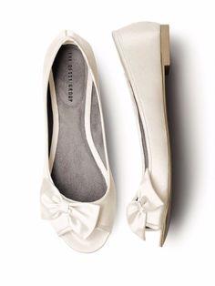 Peep Toe Bridal Ballet Flats $32.00 See more here: http://www.dessy.com/accessories/satin-peep-toe-bridal-ballet-flats/