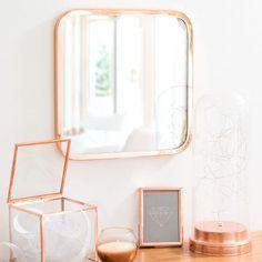 Vierkante spiegel in verkoperd metaal H 25 cm ARIANA COPPER