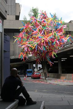 """Time after time"" installation in London by artist Choi Jeong Hwa to celebrate Korean culture."