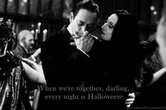 Gomez and morticia adams best couple ever And their cutesy couple-talk isn't exactly traditional. Though it is festive!