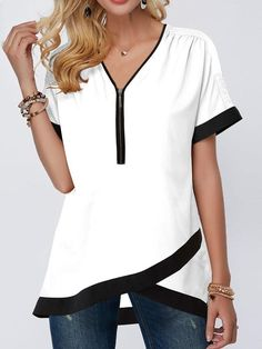 Tops For Women Contrast Piping Crossover Hem Half Zipper Blouse Trendy Tops For Women, Blouses For Women, Casual Outfits, Fashion Outfits, Fashion Clothes, Clothes Women, Trendy Fashion, Tomboy Outfits, Emo Outfits