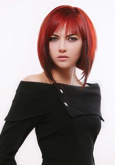 Smooth Modified Bob Medium Hair Style