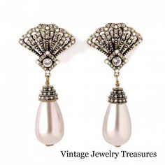Heidi Daus Park Avenue Crystal Fan Pearl Drop Clip Earrings New Hsn Rare Heididaus Chandelier
