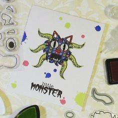 #BehindTheScenes of the mega Monster Card make. I have a while set of these babies for sale on Etsy atm 😄 http://buff.ly/2pSHvT0 the stamp set used to make them is also available 😉 #CardsForKids #handmadecards #monsters #cardsforboys