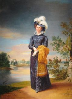 1820-1825 Elisabeth Alexeievna wearing a dark blue Empire day dress by ? (location unknown to gogm National Portrait Gallery) From liveinternet.ru:users:lizeeetta:post322814017: