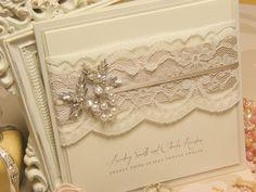lace pearl wedding invitation | couture wedding | luxury vintage wedding | unique wedding | beaded bridal applique | statement wedding stationery