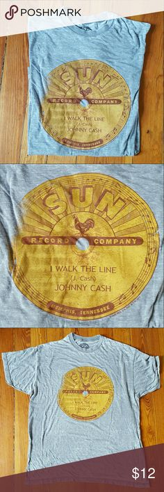 "Sun Records Johnny Cash T-shirt Sun Records Johnny Cash t-shirt. 50/50 cotton/poly blend. This is a thin semi-sheer t (see last pic). Marked a size XL- 22"" armpit to armpit, 28"" long. Great condition. #sunrecords #johnnycash #memphis Sun Record Company Shirts Tees - Short Sleeve"
