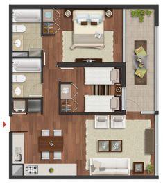 Edificio Vive Irarrazaval: Plantas Tipo 13 y 18 Studio Apartment Plan, Apartment Floor Plans, Bedroom Floor Plans, Apartment Layout, House Floor Plans, Tiny House Layout, Tiny House Design, House Layouts, Modern House Plans