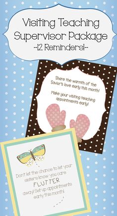 Visiting Teaching Supervisor Reminder Package, 12 cute reminders, one for every month of the year! @heartofsunlight #heartofsunlight #ldsreliefsociety