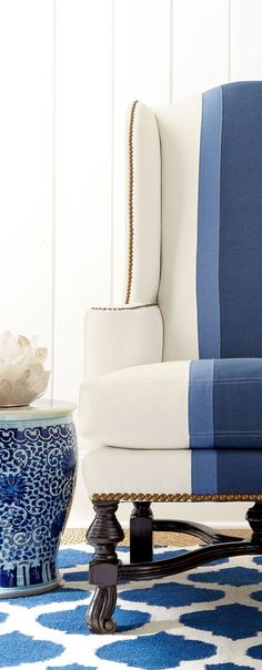 blue details- fabric treatment on chair for formal