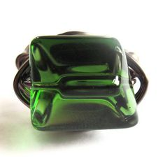 Wire Wrap Ring Emerald Green Glass Fashion by gimmethatthing, £9.75