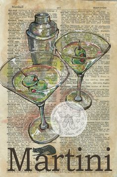 Martini x Mixed Media Drawing on Antique Dictionary I've been thinking about a bar series of dictionary drawings for some ti. Mixed Media Canvas, Mixed Media Art, Martini Mix, Tableaux Vivants, Vintage Diy, Newspaper Art, Book Page Art, Bar Art, Dictionary Art