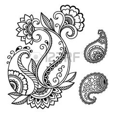 Folk Embroidery Patterns Set of Mehndi flower pattern for Henna drawing and tattoo. Decoration in ethnic oriental, Indian style. Dibujo Paisley, Paisley Drawing, Paisley Art, Paisley Flower, Mandala Drawing, Mandala Art, Mandala Tattoo, Paisley Design, Paisley Pattern