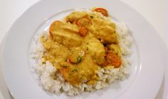 coconut fish curry | celery carrots and onions