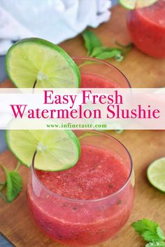 Our fresh watermelon slush is something I make and drink all summer long! It's the perfect way to use up all that leftover watermelon from your last barbecue. It's light and refreshing, with a hint of lime and basil or mint! #WatermelonDrink #SlushieRecipe #Slushies #FrozenDrinks  #SummerDrinks #RefreshingSummerDrinks #RefreshingCocktails #WatermelonSmoothie #SummerDrinksNonalcoholic #WatermelonRecipes Watermelon Slushie, Watermelon Smoothie Recipes, Smoothie Drinks, Drink Recipes Nonalcoholic, Alcohol Drink Recipes, Diabetic Smoothies, Weight Loss Smoothies, Lime Drinks, Tasty Videos