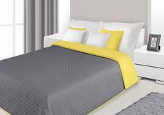 Narzuty i kapy dwustronne w kolorze stalowo żółtym na łóżko