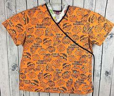 20fe02cf2ae Disney Alice In Wonderland Cheshire Cat Halloween Orange Scrub Top Women's  XL #WonderfulWorldofDisney Orange Scrubs