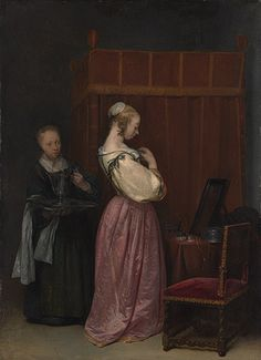A Young Woman at Her Toilet with a Maid - Gerard ter Borch - - Vermeer and the Masters of Genre Painting - Wikimedia Commons Johannes Vermeer, Rembrandt, Delft, Leiden, Dutch Golden Age, National Gallery Of Art, Art Gallery, European Paintings, Dutch Painters