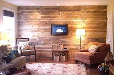 pallet wall - I swear one of these days I will have a house full of repurposed pallets! :)