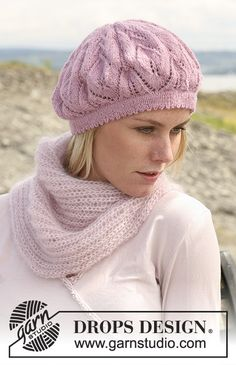 """DROPS Basque hat with lace pattern in """"Alpaca"""". Baby Knitting Patterns, Lace Patterns, Lace Knitting, Knit Crochet, Crochet Hats, Drops Design, Knitted Headband Free Pattern, Summer Knitting, Knitted Hats"""