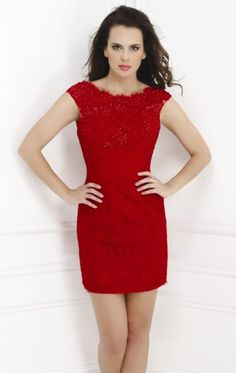 vestido curto tubinho com renda vermelho