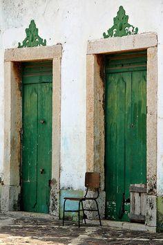 Green doors in Alcantara, Brazil (near Sao Luis - Maranhao) Cool Doors, The Doors, Unique Doors, Windows And Doors, Entry Doors, Door Knockers, Door Knobs, When One Door Closes, Color Of The Year