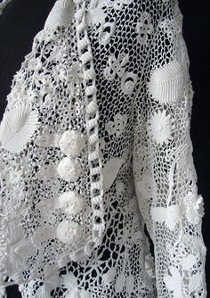 Мария Niforos - прекрасной старинной кружево, Постельное белье и текстиль: античный короля Эдуарда и викторианской Одежда # CL-52 около 1900, Superb Ирландское вязание пальто