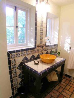 mexican-style bathroom. not crazy about the blue tiles, would