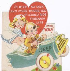 F118-WWII Army Nurse RN Rides Jeep-Vintage Die-Cut Valentine Card (02/05/2012)