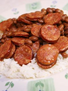 Red Beans... one of the better recipes I've found on Pinterest - likely because it is easy & simple. You don't need to be Martha Fucking Stewart.  New favorite, even better left over. Some kind of magic happens between the sausage & the beans.