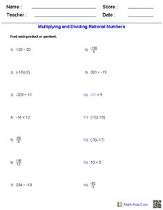 Adding and Subtracting Rational Numbers Worksheets | mathematics ...