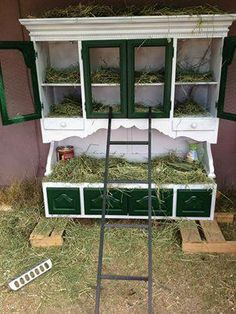 Is this the coolest nest box ever!  Re-purposed from an old hutch.  Sourced reference is Heidi J's next box via Grit Magazine. Sorry I can't provide more credit.